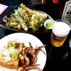 久村の酒場 - 料理写真:久村の酒場@酒田 揚げげそセット 山菜天ぷら ビール