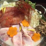 57842839 - 薩摩地鶏と旬野菜の明太子鍋