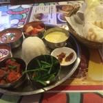 ナマステ食堂 - セット全体。プレートの方は手前から左にサグ、アルゴビ、豆スープ、チキンカレー、サラダ、ヨーグルト、アチャール、そして中央にライスです。(多分)