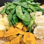 滕記熟食坊 - 料理写真:2016.10 东北农家炖(4,680円)の豆角、玉米、南瓜、土豆