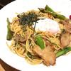 ココノハ - 料理写真:アスパラときのこの醤油風味半熟玉子添え (^_^)b