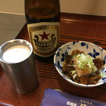 居酒屋 伝七 - 2200円コース1品目、原木ナメコと厚揚げ