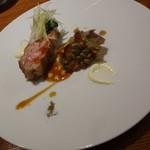 アバロッツ - 丹波地鶏のアサード かぼちゃ しろ菜(丹波/松塚/五條) アリオリとトリ醤油、山椒とシナモン