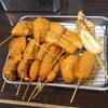 串かつ えいちゃん - 料理写真:餅、銀杏、チューリップ、鱚、餃子、串カツ(牛)、烏賊、チーズ、玉ねぎ、牛蒡