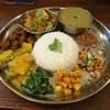 ダルバート食堂 - 料理写真:チキンのスパイス炒め煮のダルバート+砂肝のスパイスマリネ