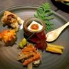 ノーウェア - 料理写真:左上から舞茸とイカの天ぷら、里芋のゴルゴンゾーラ焼き、金平ごぼう、さつまいもの甘煮、柚子風味豆腐。銀杏。