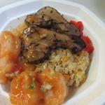 天神炒飯 - 餡かけのエビチリをかけるとオリジナル炒飯のかんせいです。