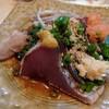 藤よし - 料理写真:カツオのタタキ(辛子、生姜、紅葉おろし、茗荷と一緒に)