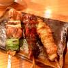 名古屋めし なご鶏 - 料理写真:コーチン鷄おまかせ串盛り合わせ(五本盛り:1,100円)から、ねぎま⇒レバー⇒鶏皮(だったかな)
