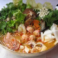 初「空心菜鍋」チムチュム(米沢牛モツとパクチー等が入ったタイしゃぶ)