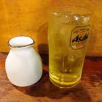 レトロ新橋系 餃子家 - 緑茶ハイ 緑茶を入れました