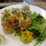 ひたち野いしざき - 海老、牡蠣、きのこのかき揚げ¥980