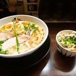 麺のようじ - 鶏塩らーめん & ミニそぼろ玉子かけご飯