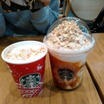 スターバックスコーヒー - ジンジャーブレッドラテとスノーピーカンナッツフラペチーノ