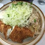 キッチン南海 - 11/8平目フライ&生姜焼き 800円ですが、ライス抜きで600円