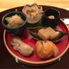 なかむら - 料理写真:牡蠣のスモーク、揚げたての零余子いりさつま、鯛の子の煮凝り、江戸前の煮穴子、子持ち昆布と青菜の煮浸し、酒粕チーズ