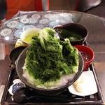 葉乃國カフェ - 抹茶氷 750円 あんこ・白玉別 シロップかけた後