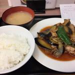 ランチハウス ミトヤ - ナスと肉の生姜焼き定食750円