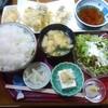魚貴 - 料理写真:牡蠣の天麩羅(定食) 850円(税込)+ご飯大盛50円  ふっくらしていない固めご飯も悪くない。