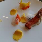 59261467 - 金目鯛のソテーです♪皮目パリパリ。ホタテ、かぼちゃ、砂糖大根のソース、柚の香り