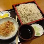 松美家 - 本日の気まぐれ(アサリのかき揚げ丼ともり蕎麦)