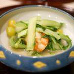 の弥七 - 帆立と海老と銀杏と青梗菜の炒め