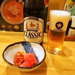 糸末 - ビール & お漬物(サービス)