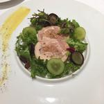 59341286 - 【前菜】若鶏のバロンティーヌ ぶどうのサラダと共に