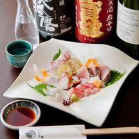 明石鮮魚と季節のお造り盛り合わせ 五種盛り合わせ