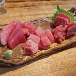 とりいち - 津軽海峡の生本マグロ、塩釜の生メバチマグロ、生キハダマグロ
