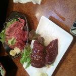 5965723 - 牛レバ刺し+馬刺し大トロセット(食べかけ)
