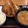 かつや - 料理写真:豚汁定食に海老フライ追加。豚汁定食のトンカツはヒレカツでした。