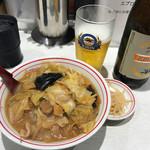 蒙古タンメン中本 - 半ラーメン(味噌タンメン)瓶ビールセット910円