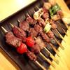 裏馬場 - 料理写真:ジビエ串。和歌山県古座川町清流鹿、猪使用。他に雉やウサギ串もあります。一本250円〜