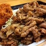 キッチンオトボケ - ジャンジャン焼き定食600円+カニコロッケ追加