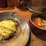 59912147 - 辛味つけ麺小 (180g)780円 トッピング一品サービス つけ汁の中に味玉入れました。