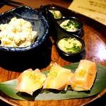 59922984 - 長芋しょっつる漬け                        和梨と鹿生ハム                        いぶりがっこのポテトサラダ