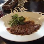 mood board - アンガス牛ロース肉のステーキ 赤ワインソース ポムフリットとクレソン添え
