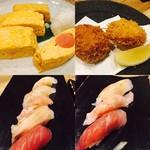 なきざかな –鳴魚- - 出汁巻明太子、ずわい蟹クリームコロッケ、海鮮寿司(5貫と3貫)