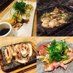 なきざかな –鳴魚- - 穴子天ぷら、貝だらけの昆布浜焼、イカ下足溶岩焼、鴨のたたき九条ネギまみれ
