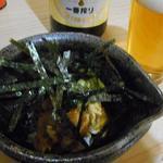 角平 - 鶏わさ630円。海苔がタップリすぎてどんな料理なのか見えない(^^;)