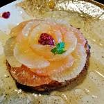 金の百合亭 - 『金の百合亭フレンチトースト』(720円)!!  とろっとろ~~の丸いマフィンを焼き上げて、スライスしたグレープフルーツを、お花のようにトッピングしたフレンチトースト~♪(^o^)丿