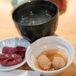 鳥ふじ - 2016.12 鶏たたき、柴漬け、鶏ガラスープ