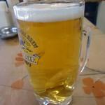 桐のや水産 - 「生ビール」400円也。