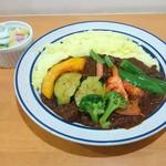 かれーの店 ポカラ - ポーク野菜かれー 950円(税込)+ターメリック日本米大盛100円
