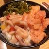 博多天ぷら やまみ - 料理写真:辛子明太子、烏賊の塩辛、辛子高菜をどっさり乗っけて三色丼にしました