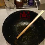 油そば 東京油組総本店 - ご馳走様の完食です