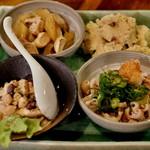 燻製と地ビール 和知 - ひよこ豆のサラダ 皮ポン  燻製ポテト