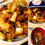 天健 - かき揚げ丼(味噌汁付)