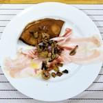 60371036 - 栗粉のクレープ                        パルマ産パンチェッタと自家製のリコッタチーズとソテーしたキノコ